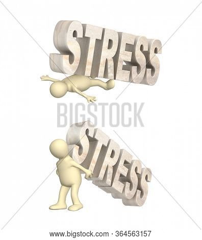 Stress concept. Stressed and frustrated. 3d man crushed by the stone word stress, puppet raises a stone word stress. Isolated on white background. 3d render