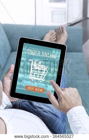 Businessman Working From Home On Tablet And Making Shopping Online Order Food Form Mobile On Touch S