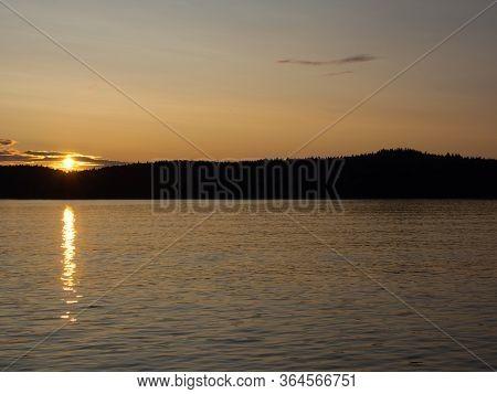 Evening Sunset On The Lake.