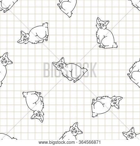 Cute Cartoon Monochrome Japanese Bobtail Kitten Seamless Vector Pattern. Pedigree Kitty Breed Domest