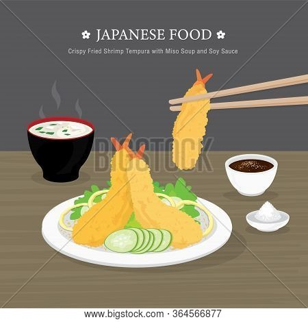 Set Of Traditional Japanese Food, Crispy Fried Shrimp Tempura With Miso Soup And Soy Sauce. Cartoon