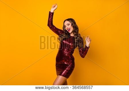 Photo Of Charming Wavy Lady Students Event Festive Party Prom Queen Dancing Good Mood Disco Night We