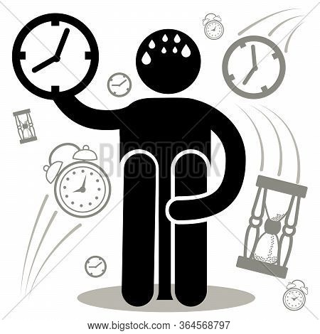 Chronophobia. Phobia. Fear Of Passing Time. Silhouette Afraided Man. Can Be Used As Logo, Icon, Stic