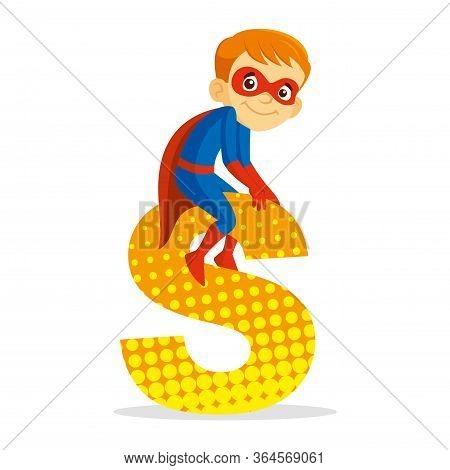 Abc Letter S Superhero Boy Cartoon Character Vector Illustration