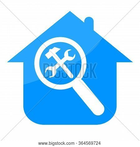 Repairing Home Blue Icon With Working Tools And Magnifier Glass Isolated On White Background