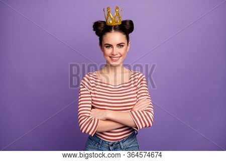 Photo Of Pretty Lady Students Choice Prom Queen Party Arms Crossed Brag Person Wear Golden Crown Whi