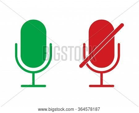 Radio Microphone Icons In Red And Green Colors. Isolated Record Equipment. Sound Mic For Karaoke. Br