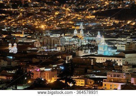 Night view of Quito, Ecuador, churches in the historic center