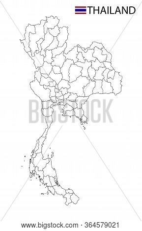 Thailand Map, Black And White Detailed Outline Regions Of The Country.