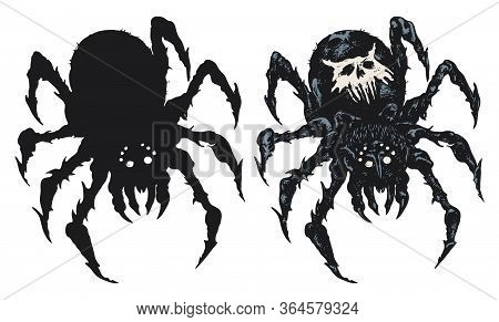 Vector Set Of Two Spiders Close Up, Big Scary Black Spiders Isolated On White Background, Poisonous