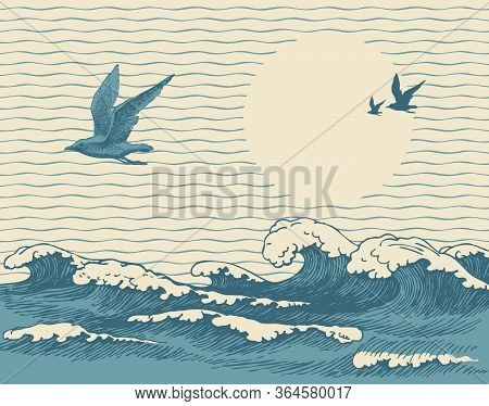 Vector Decorative Seascape In Retro Style With Waves, Seagulls And Sun In The Sky. Hand-drawn Illust