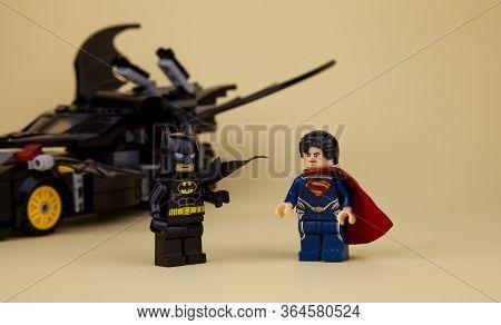 Ukraine, Kyiv - April 6, 2020: Lego Minifigures. Batman And Superman. Childrens Designer With Superh