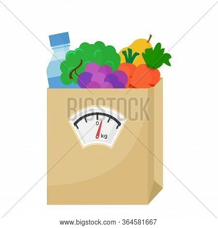 Balanced Diet. Healthy Nutrition. Fresh Vegetables, Fruits And Bottle Water. Paper Bag Of Food With