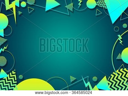 A Green, Cyan And Yellow Retro Vaporwave 90's Style Random Geometric Shapes Border With Vibrant Neon
