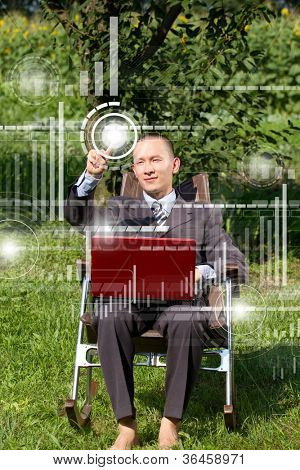 Concept. Man Businessman working outdoors, as freelacser and have fun