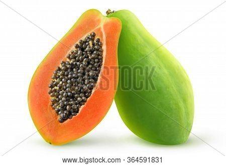 Isolated Papaya. Two Halves Of Green Papaya Fruit Isolated On White Background