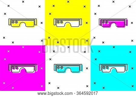 Set Smart Glasses Mounted On Spectacles Icon Isolated On Color Background. Wearable Electronics Smar