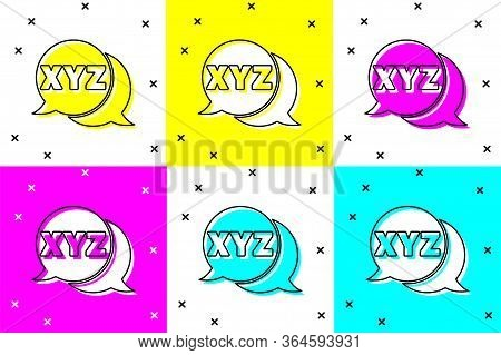 Set Xyz Coordinate System Icon Isolated On Color Background. Xyz Axis For Graph Statistics Display.