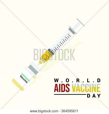 Syringe And Vaccine. Syringe Taking The Vaccine. International Day Of Aids Vaccine. World Aids Vacci