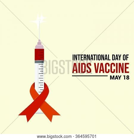 Ribbon On Syringe. Ribbon Template. Aids Day. World Aids Vaccine Day. International Day Of Aids Vacc