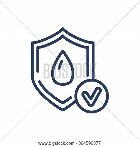 Wet Protection Thin Line Icon. Water, Dry, Shield Isolated Sign. Comfort And Sleeping Concept. Vecto
