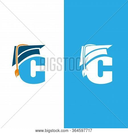Initial Letter C With Graduation Hat Isolated White And Blue Background. Unique Letter C In Flat Sty
