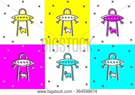 Set Ufo Abducts Cow Icon Isolated On Color Background. Flying Saucer. Alien Space Ship. Futuristic U