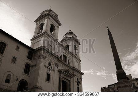 Trinita Dei Monti church at top of Spanish Steps in Rome, Italy.