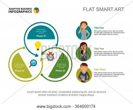 Three Workers Team Process Chart Slide Template. Business Data. Occupation, Employee, Design. Creati