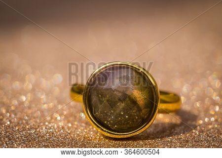 Gold Ring With Labradorite