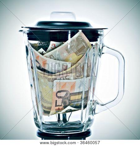 a pile of 50 euros bills in a blender symbolizing the euro devaluation