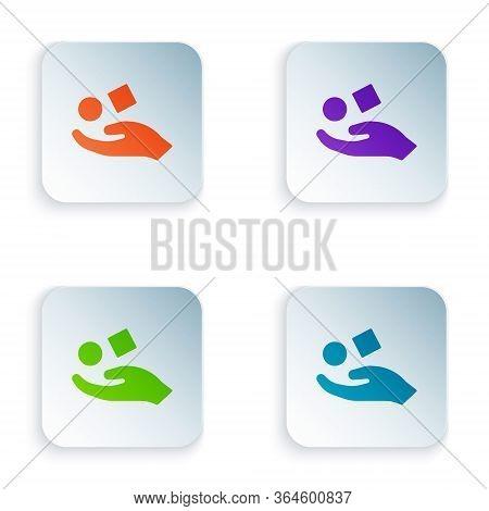 Color Cube Levitating Above Hand Icon Isolated On White Background. Levitation Symbol. Set Colorful