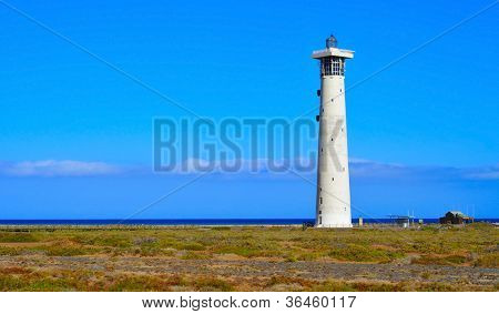 view of the Beacon of Morro Jable in Fuerteventura, Canary Islands, Spain