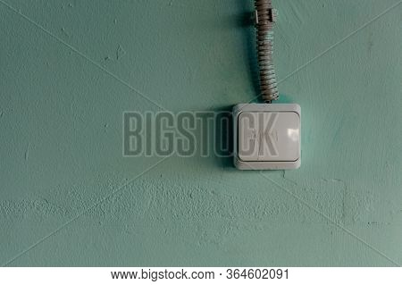 Old Light Switch On Wall Concept On Off