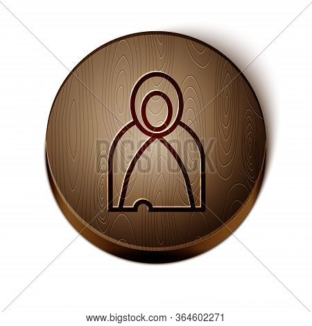 Brown Line Mantle, Cloak, Cape Icon Isolated On White Background. Magic Cloak Of Mage, Wizard And Wi