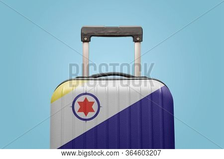 Suitcase With Caribbean Netherlands Flag Design Travel Caribbean America Concept.