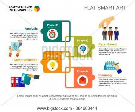 Four Phases Process Chart Slide Template. Business Data. Partnership, Profit, Design. Creative Conce