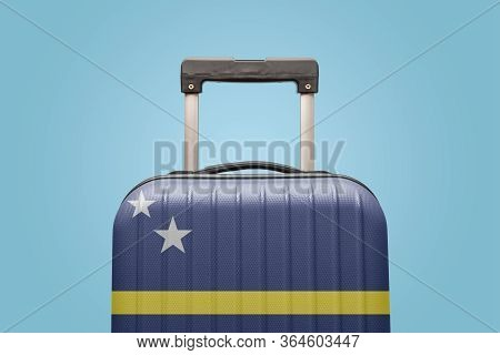 Suitcase With Curaçao Flag Design Travel Caribbean America Concept.