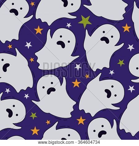 Cute Ghost Seamless Pattern. Vector Texture With A Flying Ghost And Multi-colored Stars On A Purple