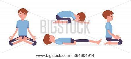 Yogi Man In Sport Wear Practicing Yoga In Restorative, Seated Poses, Padmasana, Lotus Variation, Chi