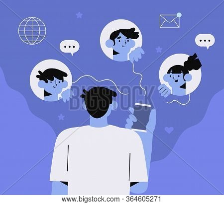 Man Hold Smartphone With Dark Or Night Mode Or Theme On. People Chatting Or Working At Night With Li