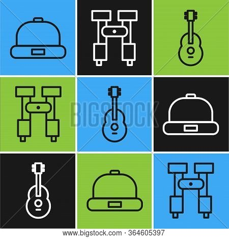 Set Line Beanie Hat, Guitar And Binoculars Icon. Vector