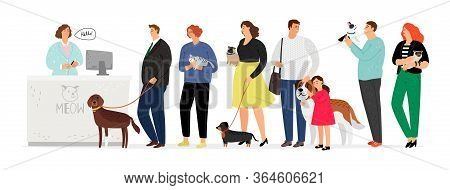 People In Veterinary Clinic. Hospital For Pets. Long Queue To Administrator Or Doctor. Man Woman Wit