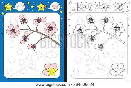 Preschool Worksheet For Practicing Fine Motor Skills - Tracing Dashed Lines Of Cherry Flower Petals