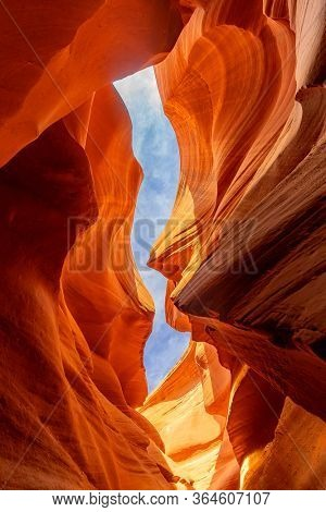 Lower Antelope Canyon or Corkscrew slot canyon National park in the Navajo Reservation near Page, Arizona USA. Antelope canyon is United States landmark and tourist spot.