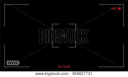 Camera 4k Viewfinder Recording Video On Dark Background. Video Screen On Black Backdrop. Movie Recor