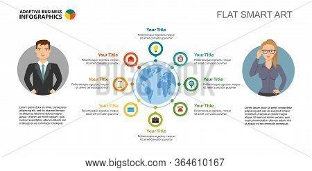 Eight Communication Options Process Chart Slide Template. Business Data. Workflow, World Map, Design