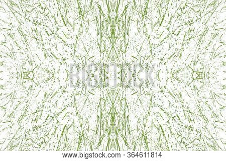 Sketch For Ceramic Tiles. Green Symmetric Pattern On A White Background. Seamless.