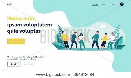 People Playing Game And Pulling Rope Flat Vector Illustration. Office Contest For Two Teams Resistin