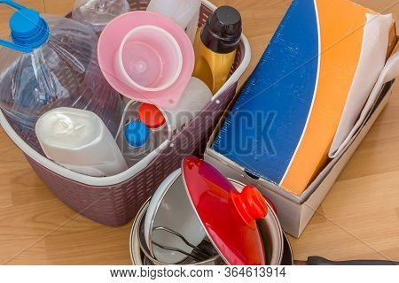 Household Waste That Is Used For Recycling Must Be Sorted And Disposed Of Separately. Plastic, Metal
